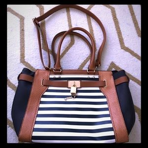 Aldo satchel in navy & white with gold derail.